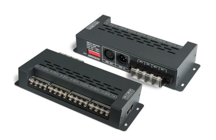 New LTECH LT-898 8CH DMX-PWM Decoder;DC5-24V input;6A*8CH Max 48A output RGB/RGBW Strip Lamp Controller RJ45/XLR-3 dmx512 digital display 24ch dmx address controller dc5v 24v each ch max 3a 8 groups rgb controller