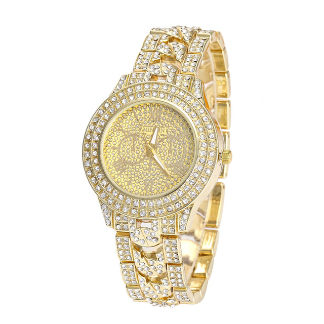 Women Round Full Diamond Bracelet Watch Analog Quartz Movement Wrist Watch Relog