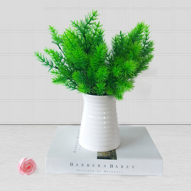 Artificial Flowers Small Pine Tree DIY Green Milan Grass Fake Leaf Plants Wedding Decoration Party Home Decor Gift