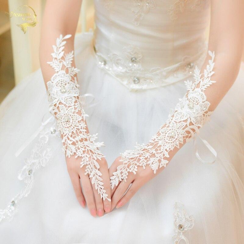 Luvas as luvas de Casamento de noiva rendas de luxo diamante recorte de renda luvas acessórios G019