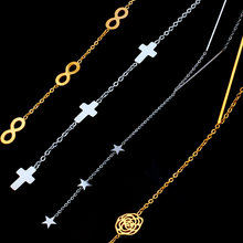 SHE WEIER long necklace stainless steel chain pendant necklaces women collar infinity cross heart jewelry silver gold neckless(China)