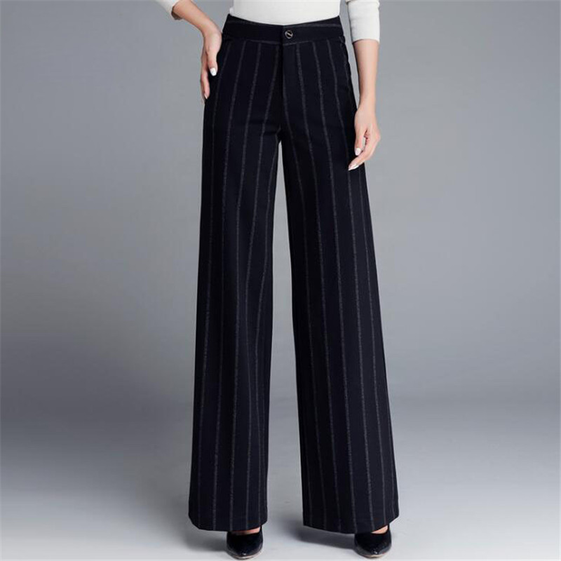 Vertical Striped High Waist   Wide     Leg     Pants   Autumn Winter Plus Size Women Workwear   Pants   Casual Trousers Ds5059