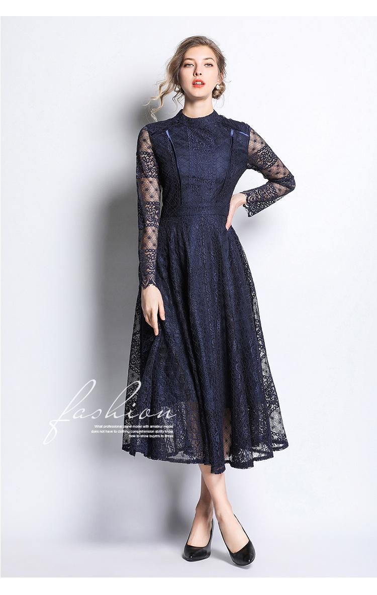 Dark Blue Lace Long Sleeve Retro Dress 3