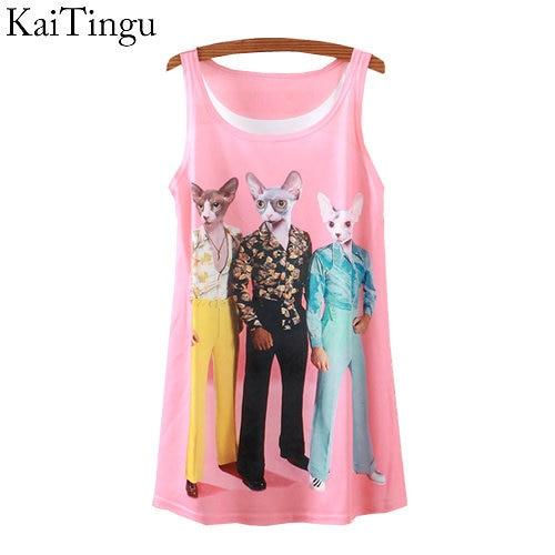 2015 New Fashion Vintage Spring Summer Women Sleeveless Print Animal Horse Lion Love Printing T Shirt Tee Blouse Vest   Tank     Tops