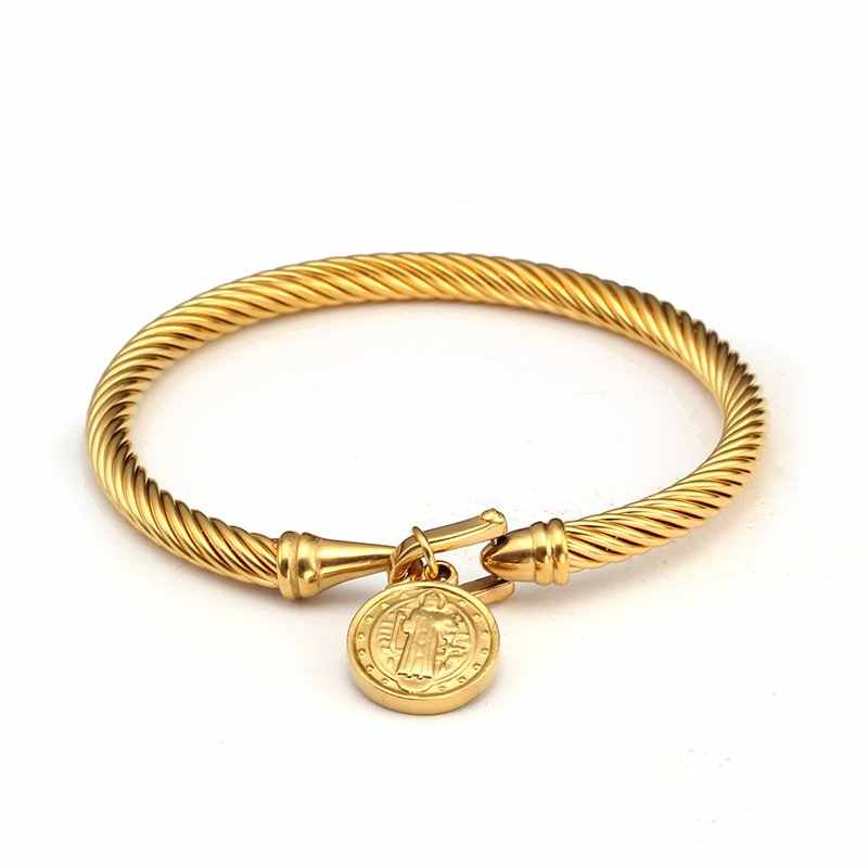 Gold God Design Women Female Charm Cuff Bracelet Bangles Trendy Brand Wristband Chain Link Hook Bracelets