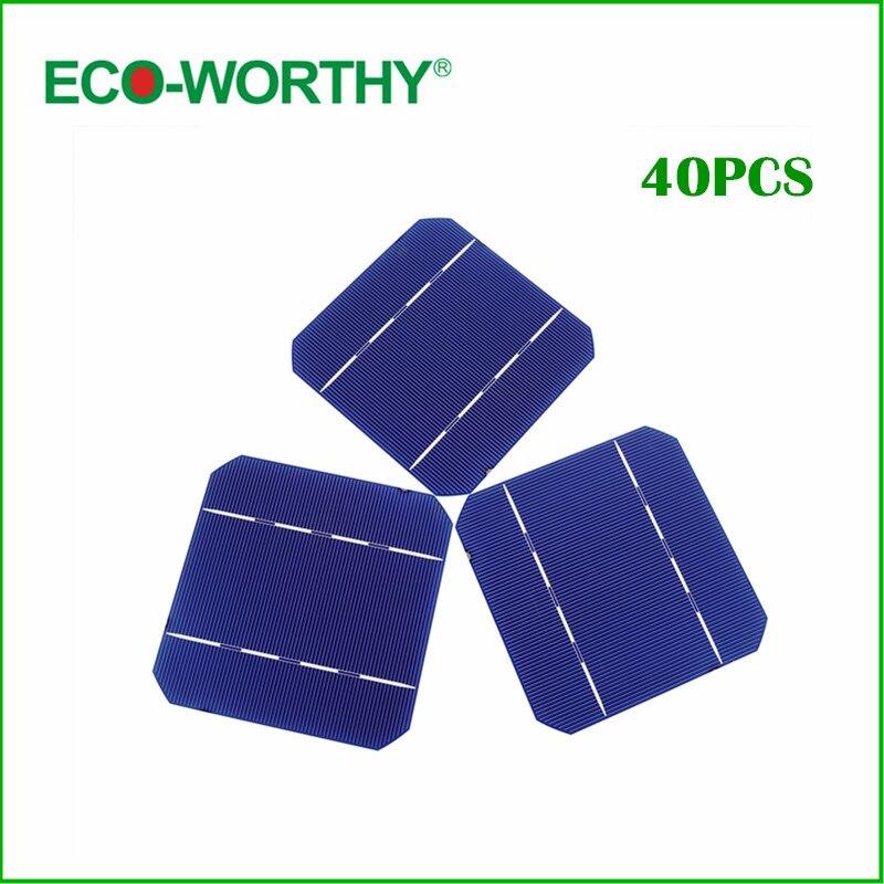 ECO-WORTHY 500pcs 5x5 125mm A Grade Mono Monocrystalline Solar Cell Solar Cells For DIY 1000w Solar Panel 1m x 12m solar panel eva film sheet for diy solar cells encapsulant