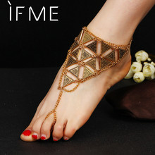 IF ME Vintage Exaggerated Geometric Triangle Chain Anklets Antique Gold Color Summer Beach Foot Bracelet Anklet Barefoot Jewelry
