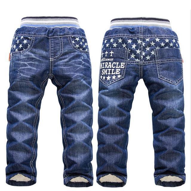6-10Yrs Crianças Quentes Marca de Jeans Meninos Calças Calças de Inverno Para Meninos Moda Crianças Calças de Brim de Inverno Crianças Engrossar Calças de Inverno