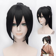 Hakuouki yukimura chizuru cosplay perucas para mulher homem unisex peruca de cabelo sintético 60cm longo reta rabo de cavalo preto frete grátis