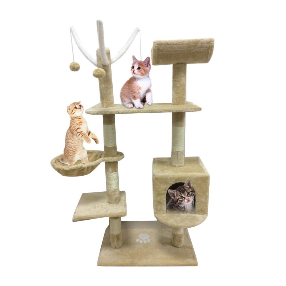 Cat's Tree Tower Condo Scratcher Home Furniture Pets House Hammock Furniture Pets House Hammock Cat's Tree Tower Tool Beige/Grey froggy builds a tree house