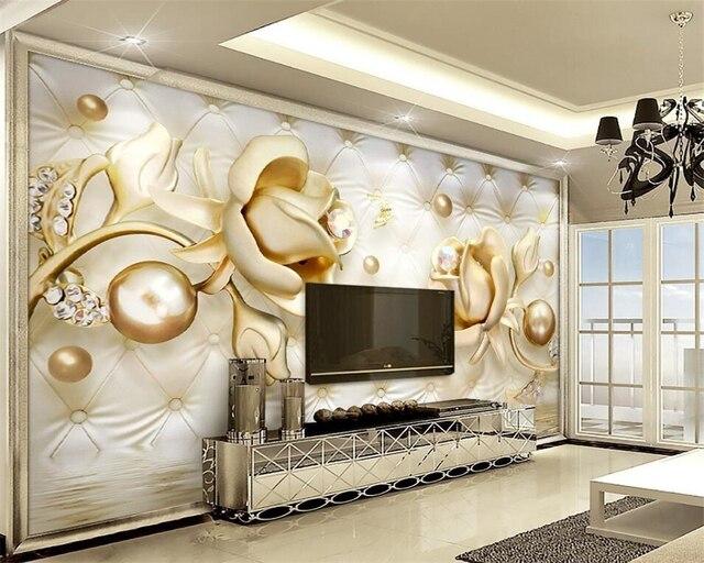 Tapete Wandbild beibehang 3d luxus gold weiche tasche kugel foto