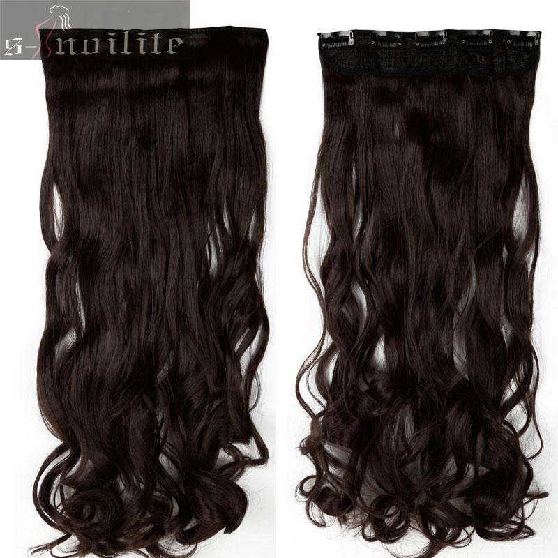 S-noilite, 18-28 дюймов, длинные волосы на заколках для наращивания, 1 шт., синтетические, настоящие натуральные волосы, 3/4, на всю голову, черный, коричневый - Цвет: #4