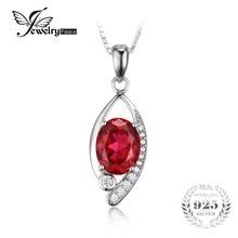 Jewelrypalace ojo 2.2ct creado rubíes rojo plata esterlina 925 para mujeres oval cut moda joyería de la boda sin una cadena