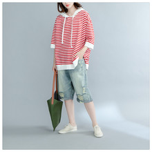 M spring and summer new Korean version of the loose hooded pullover cotton striped thin hoodie