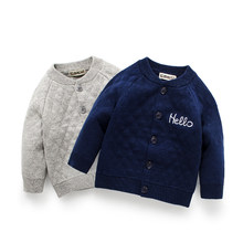 "Dinstry Autumn& Winter new arrival for baby boy's & girl's cardigan sweater,""Hello"" embroidery on left chest(China)"