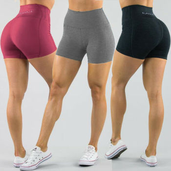 Women's High Waist Sports Short Workout Running Fitness Leggings Female Yoga Shorts Gym Yoga  Leggings With Side Pocket 1