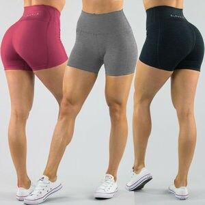Women's High Waist Sports Short Workout Running Fitness Leggings Female Yoga Shorts Gym Yoga Leggings With Side Pocket(China)
