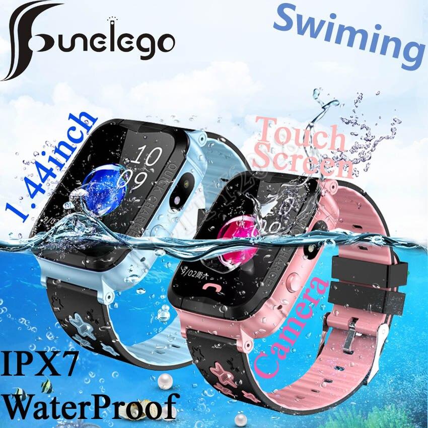 Funelego Waterproof Child GPS Watch Touch Screen SOS Smart Watch Phone For Kids Deep Water Resistant Swimming SeTracker PK DF25