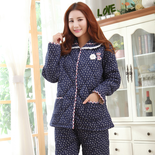 057bc91d8f Russian Winter! Warm Three Layer Thick Quilted Pajamas Women Casual Cotton  Tracksuit Long-sleeved