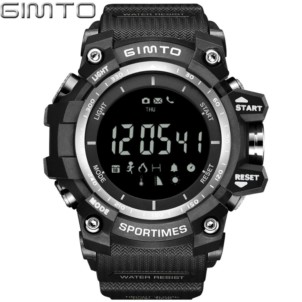 GIMTO Altimeter Thermometer Pedometer Calories Barometer Remote Camera Bluetooth Men Sports Watch Hiking Running Wristwatches