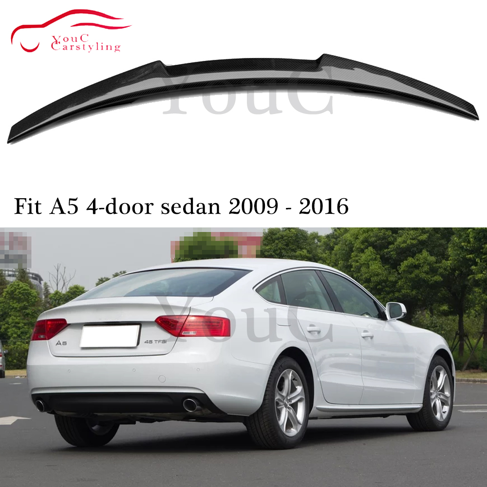 M4 style carbon fiber rear bumper Spoiler trunk boot lip for <font><b>Audi</b></font> <font><b>A5</b></font> <font><b>Sportback</b></font> Saloon 2009 - 2016 car styling rear spoiler wing image