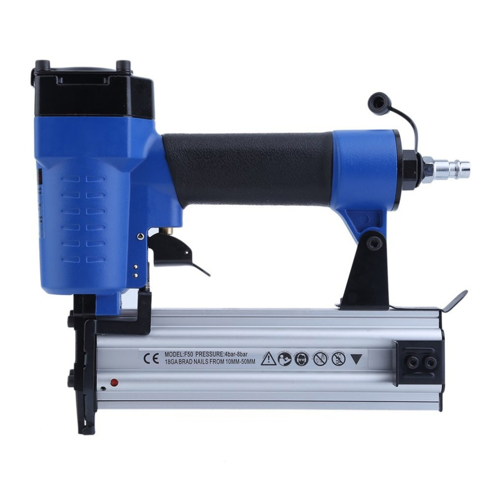Pneumatic Air Nail Gun Straight Nail Gun Air Stapler Nailer 15-50MM Furniture Wire Stapler F50 Woodworking Pneumatic Air Power