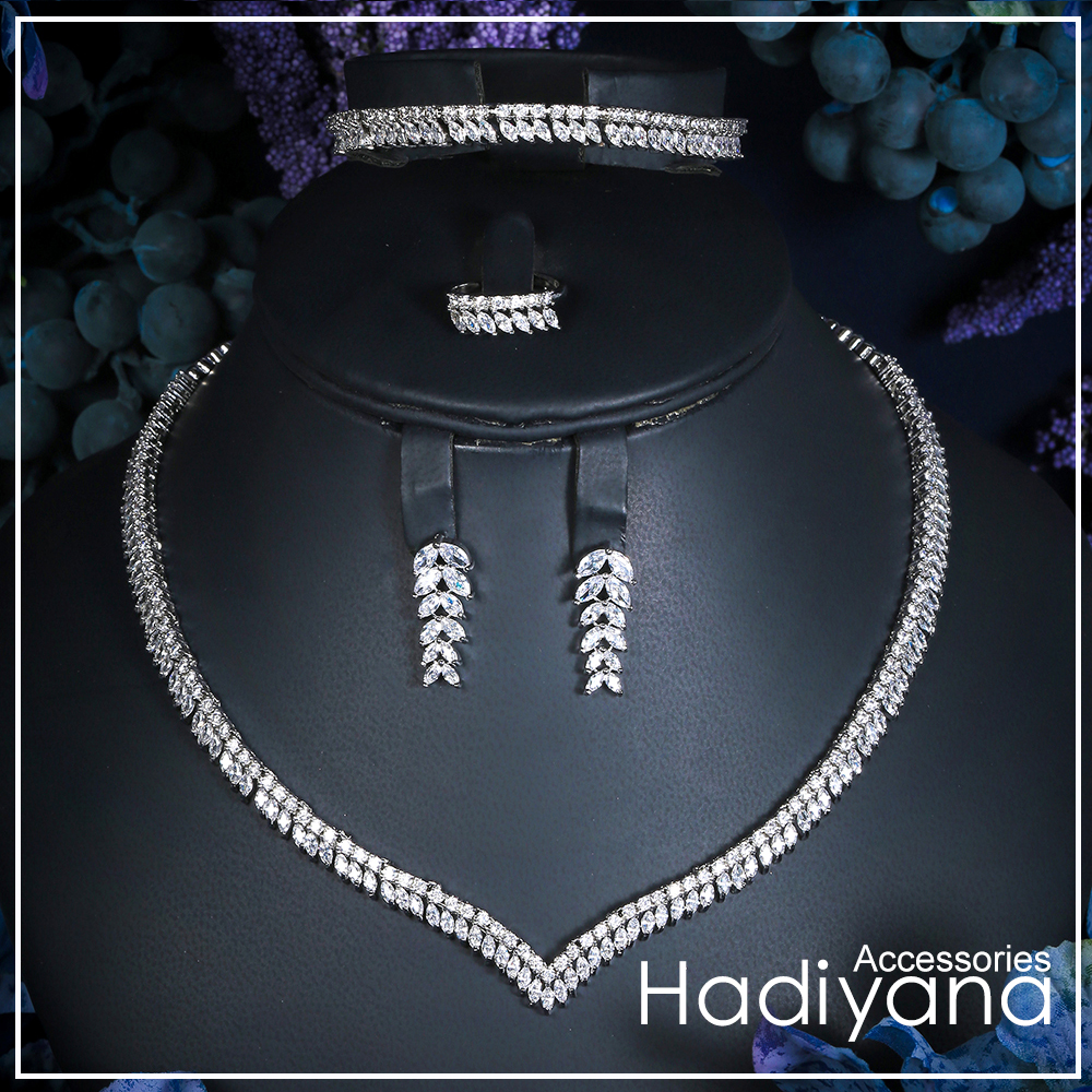 Hadiyan 2018 Yellow Gold Jewelry Set With AAA Cubic Zirconia New Gorgeous Woman 4pcs Necklace Sets