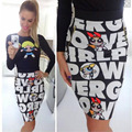 Новых женщин способа тонкий Высокая Талия печати бальное платье клубная одежда мини юбка