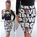Delgado de las nuevas mujeres de Cintura Alta vestido de bola de impresión clubwear mini partido de la falda