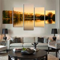 2017 Hot Sale Beautiful Autumn Tree Lakes And Mountains 5 Panels/set Hd The Picture Canvas Print Painting Art Work Decorative