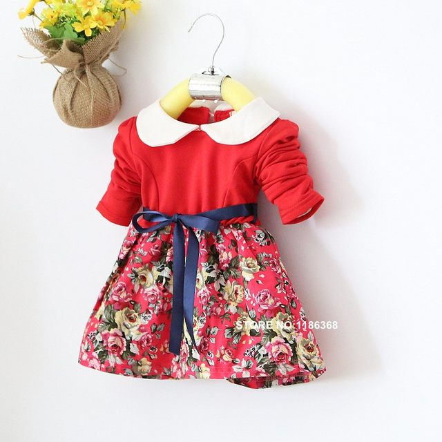9f224ff72 Online Shop 4M-24M Hot Selling girls dresses printed flower long ...