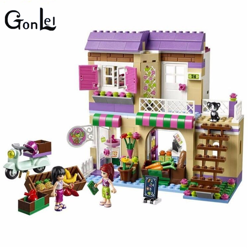 (GonLeI)10495 389pcs Friends City Food Market Building Blocks Mia Maya figureblock Bricks Toys Friend Girls 41108 Compatible