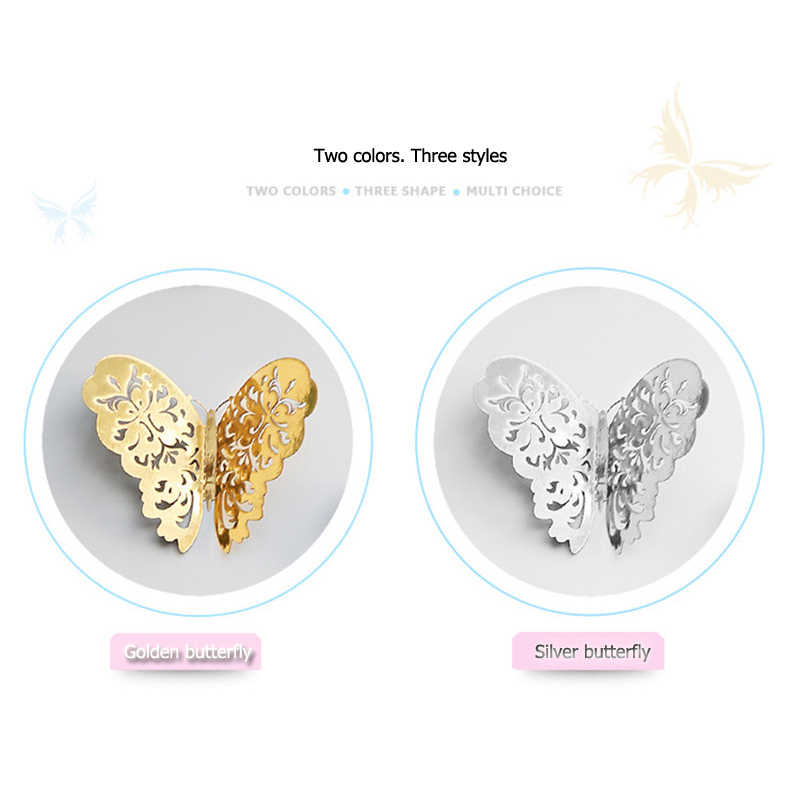 12pcs 3D Hollow Butterfly สติ๊กเกอร์ติดผนังสำหรับตกแต่งบ้าน DIY ผีเสื้อตู้เย็นสติ๊กเกอร์ตกแต่งห้อง PARTY Decor