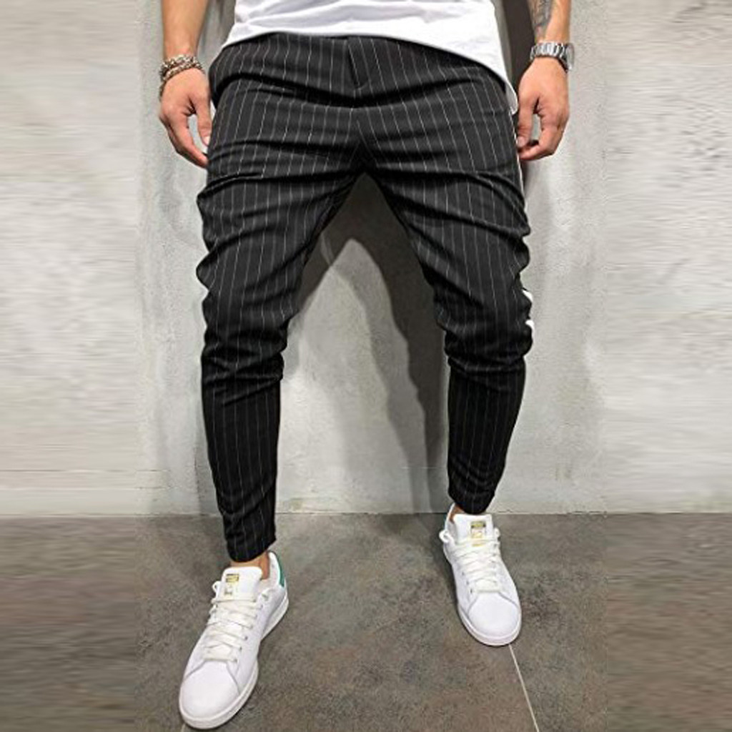 2019 new style hot sales Fashion Men's Casual Solid Stripe Pocket Sweatpant Trousers Jogger Pant S-3XL L0710(China)