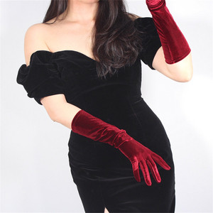 Image 2 - 40cm Velour Gloves Long Section Wine Red Dark Red Female High Elastic Swan Velvet Gold Velour Touchscreen Woman WSR04