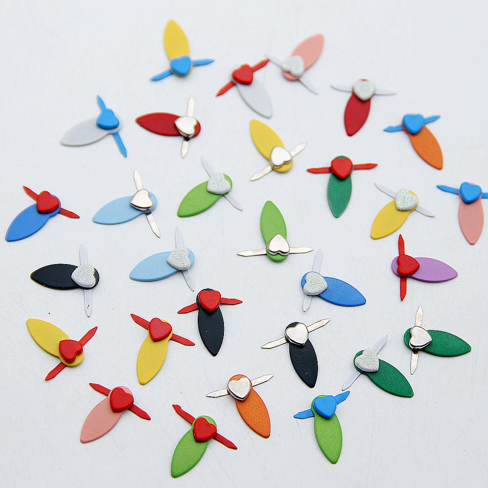 60pcs Colorful Heart/Sharp Metal Brads Rotating Turn Buttons Lock Scrapbooking Embellishment Fastener Decor Crafts For DIY Album