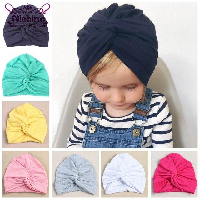 6d23455d295 Nishine 12 Colors Cotton Blend Kids Turban Hat Newborn Beanie Caps Headwear  Children Shower Hat Birthday Gift Photo Props