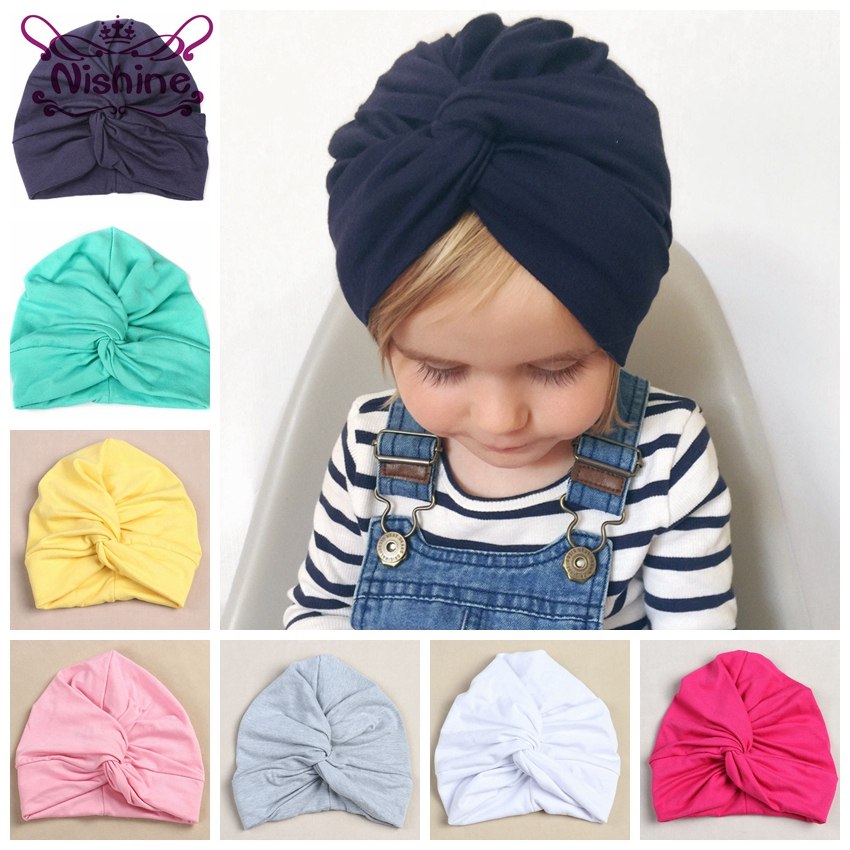 Nishine 12 Colors Cotton Blend Kids Turban Hat Newborn Beanie Caps   Headwear   Children Shower Hat Birthday Gift Photo Props
