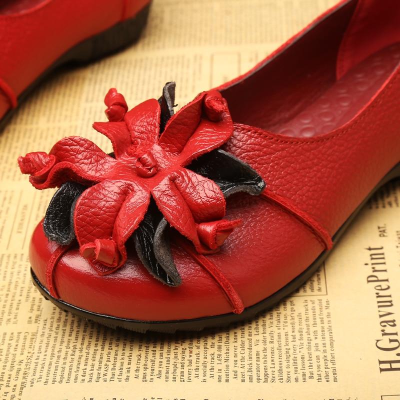 Cuir Noir rouge vert À Chaussures Femmes Beckywalk jaune En Femme Ballet Fleurs Wsh2941 Style La National Occasionnels Véritable D'été Main Rétro Appartements Plat qxFwAH4