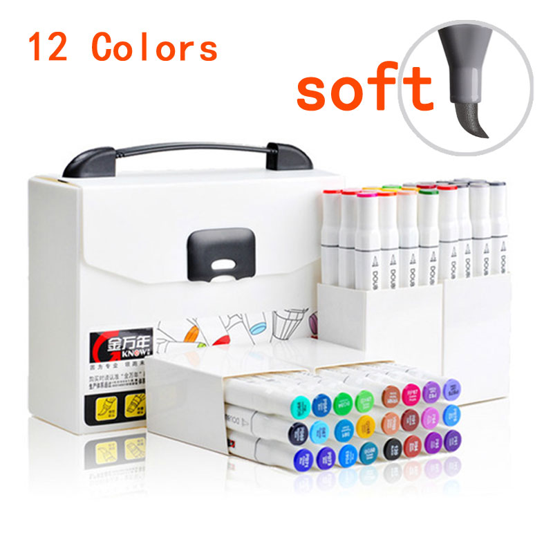 12 Colors Arts Supplies Chisel and Brush Dual Twin Tip Art Markers Graphic Design Marker Pen Sets Marcadores