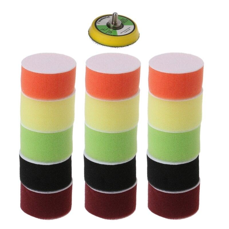 SAILFLO 16pcs 50mm Car Polishing Sponge Pad Kit Set For Auto Care Buffer Wax Polish