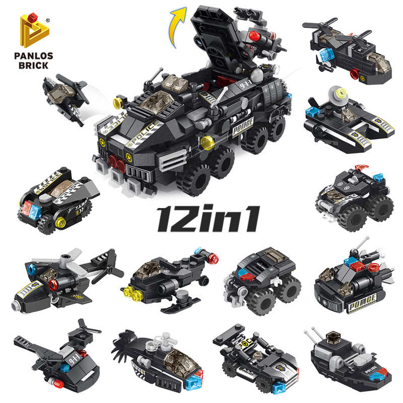 572PCS SWAT Armored Car 12in1 Combat Aircraft Police Boat E-dog Submarine Hummingbird Snake Robot Fun Building Block Toy For Kid