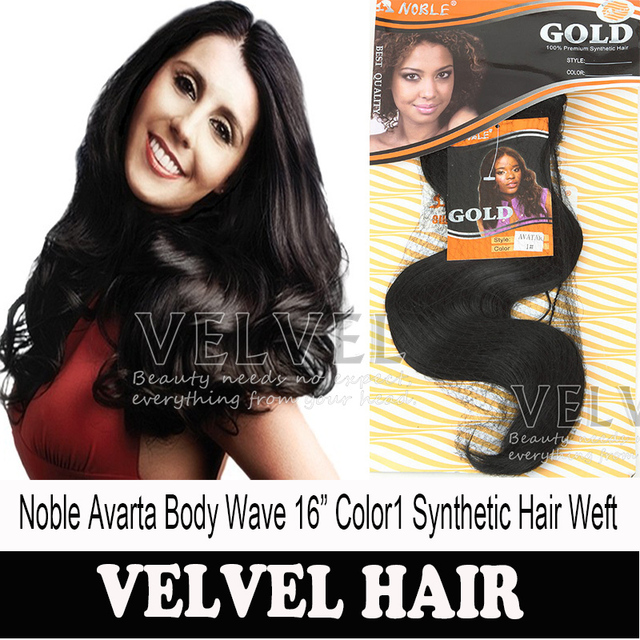 "Brand New Noble Gold Avarta Body Wave Hair Weaving 16"" Color1 Synthetic Hair Extension Loose Body Hair Weaves Hair Wholesale"