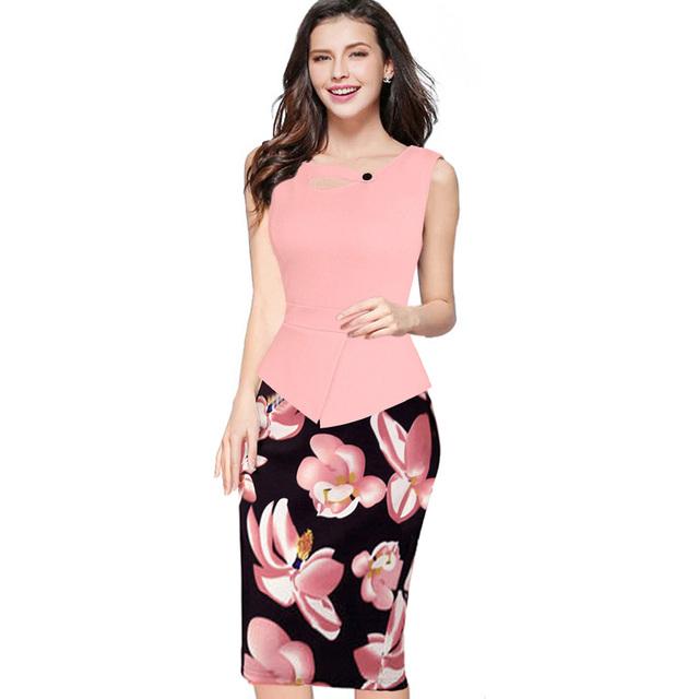 2016 Verão Mulheres da Cópia Floral Patchwork Bainha Vestido de Verão Sem Mangas Bodycon Escritório de Trabalho Plus Size 4XL 5XL Vestido Lápis