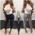 Мода Отверстие Выдалбливают Женщины Леггинсы Случайный Сексуальный Женщины Хлопок Трикотажные Женские Брюки Legins