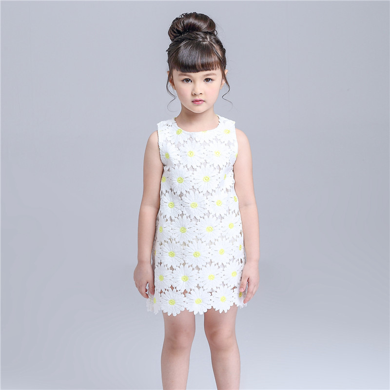 Tribros 2017 Spring Summer Baby Girls Lace Sleeveless Princess Dresses Costume For Kids Clothes Fashion Floral Cut Mini Dress 2016 spring winter children baby kids girls stripe princess lace mesh dress girls fall sleeveless dresses kids dresses for girls