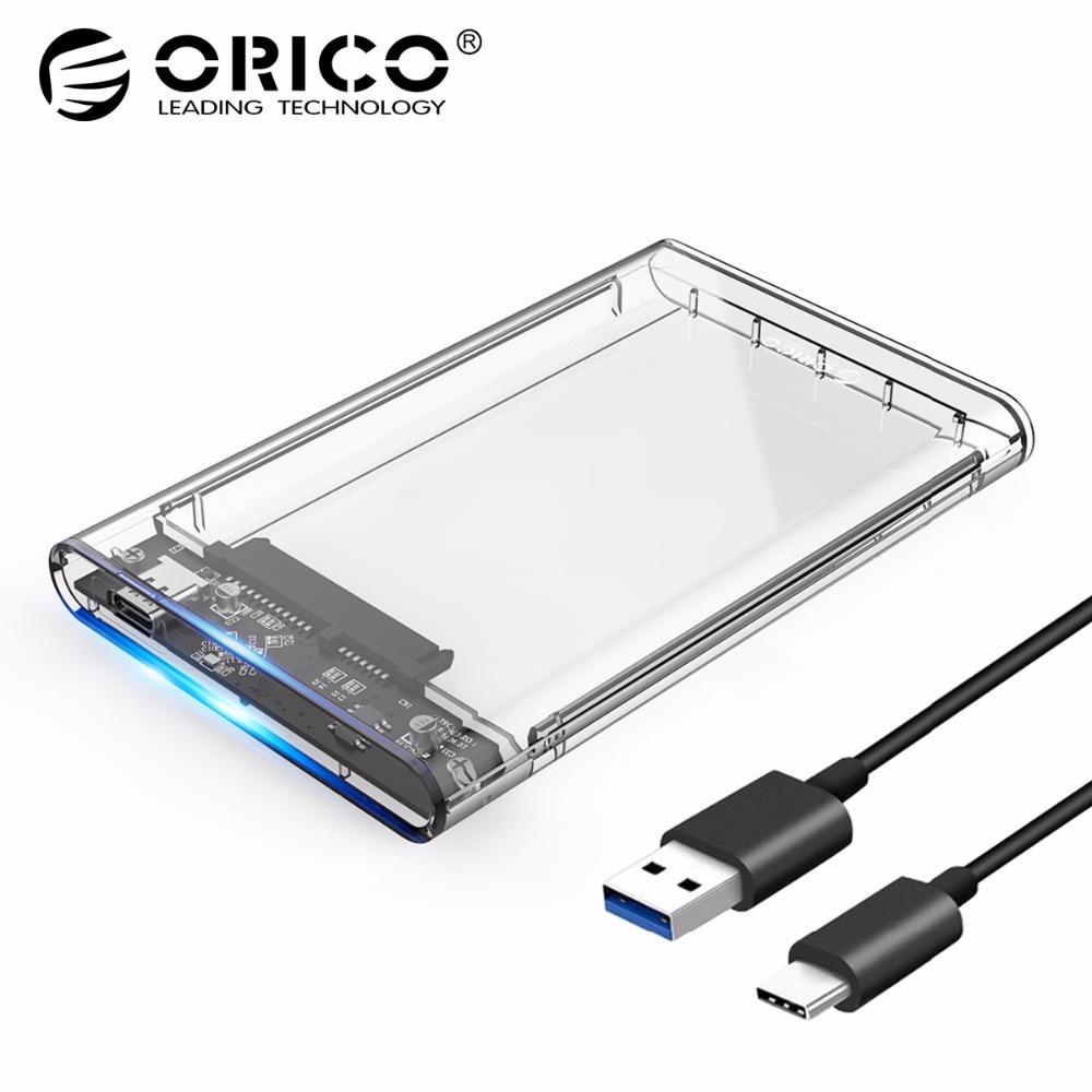 ORICO 2139C3 Tipo C Gabinete Disco Rígido UASP 2.5 polegada Transparente USB3.1 Compartimento do Disco Rígido Support Protocolo UASP