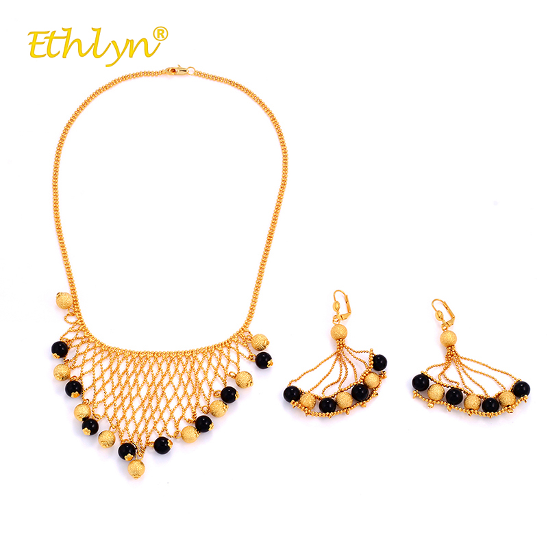 Ethlyn Africa/the Middle East/Ethiopia Wedding Jewelry Set for Women with Black Acrylic Beads Hollow Mesh Necklace/Earrings 2PCS gothic style hollow out beads necklace for women