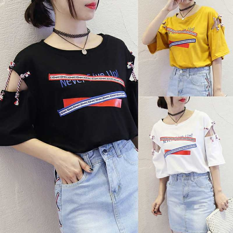 Hong Kong flavor retro short-sleeved t-shirt female 2019 new Korean Harajuku BF wind loose half-sleeved shirt kleider weit