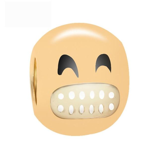 Free Shipping Christmas Gift 1pc Gold Color Emoj Smile Big Hole Bead Charms  Fit European Pandora
